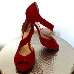 Kelly & Katie red suede-like crossover heels #